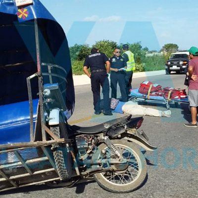 Joven conductora ignora el alto y choca un mototaxi; un lesionado