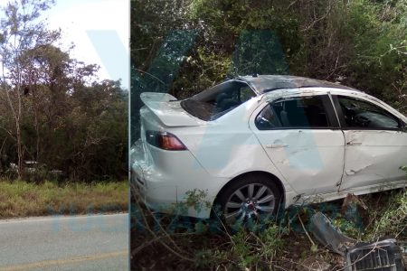 Conductora pierde el control de su auto y acaba dentro del monte