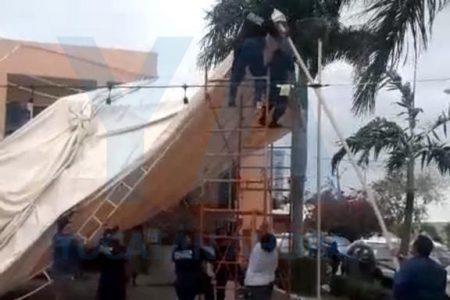 Frente frío 41 causa estragos en Mérida: se caen toldos y anuncios luminosos