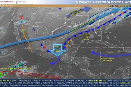 Frente frío se frena y no llega a Yucatán: calor y algunos nublados para hoy
