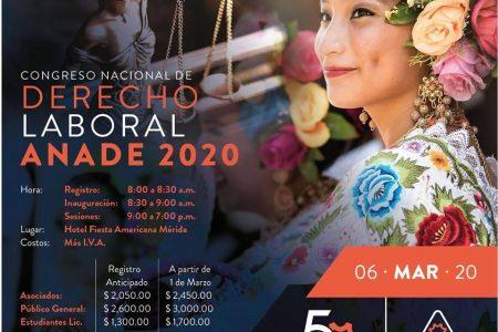 Mérida, sede del Congreso Nacional de Derecho Laboral Anade 2020