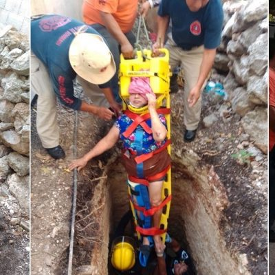 Rescatan a mujer de la tercera edad: cayó a una fosa en su vivienda
