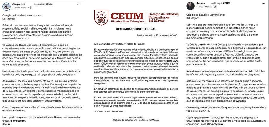 Alumnos del CEUM son escuchados: les descontarán 30% de colegiatura por Covid-19