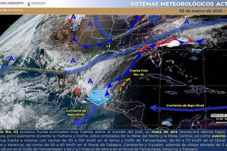 Ya tenemos el frente frío 42 sobre Yucatán: se espera fresco y viento fuerte