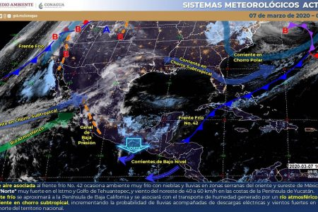 Masa de aire frío sigue cubriendo la Península de Yucatán