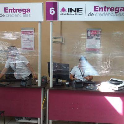 Módulos del INE en Mérida, protegidos contra el coronavirus Covid-19