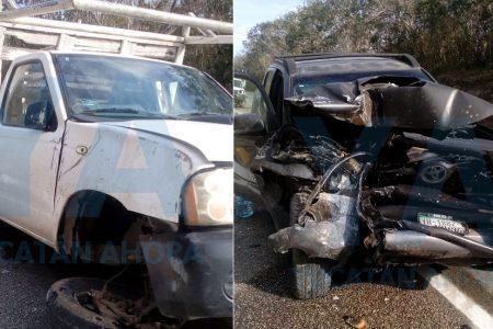 Choque de camionetas en la Mérida-Cancún: dos lesionados