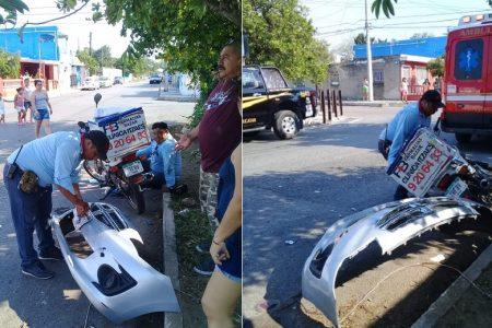 Conductor arrastra a motociclista, huye pero deja su fascia