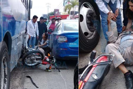 Atrabancado camionero manda al hospital a un motociclista