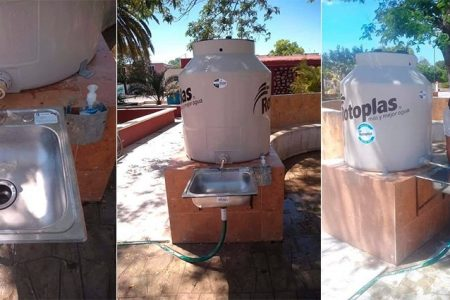 Covid-19: instalan ingenioso lavamanos en concurrido sitio de taxis