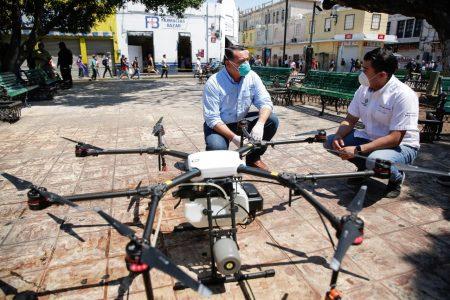 Con drones sanitizará el Ayuntamiento espacios públicos de Mérida