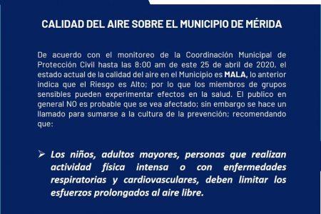 Por si el Covid-19 no fuera suficiente, alertan de mala calidad del aire en Mérida