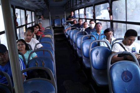 Así se cuida la sana distancia en vehículos del transporte público en Mérida
