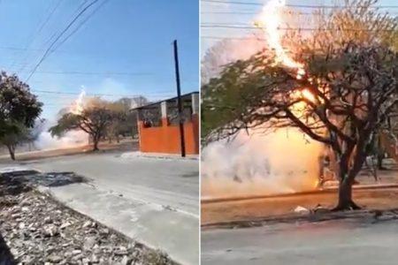 Explota transformador de la CFE y causa incendio en Juan Pablo II