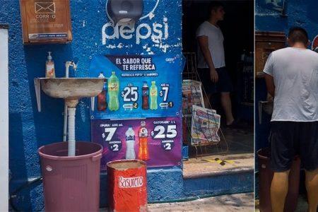 Tiempos de Covid-19: tienda instala lavamanos para sus clientes, en Francisco de Montejo