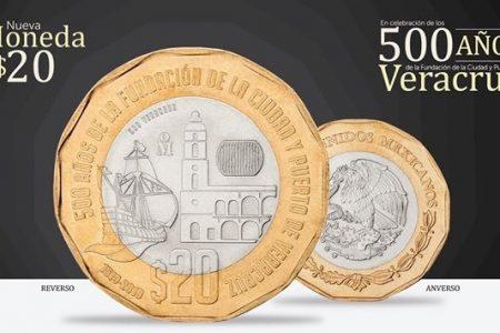 Ya circula en Yucatán nueva moneda de 20 pesos con forma geométrica