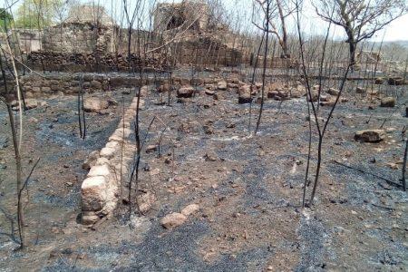 Incendio forestal alcanza zona arqueológica de Oxkintok