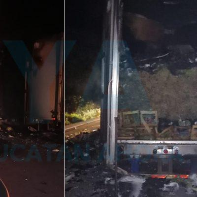 Se incendia un camión con 15 toneladas de verduras