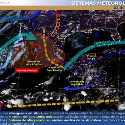 Conagua pronostica para hoy chubascos en el centro, sur y oriente de Yucatán