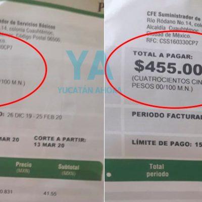Más atropellos de CFE contra yucatecos: les cobran meses atrasados que ya pagaron