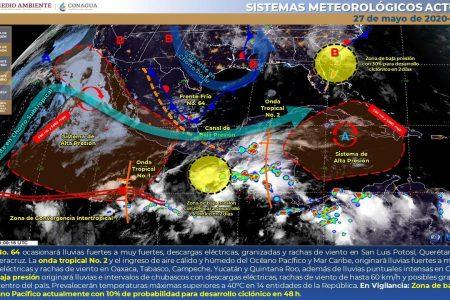 Se esperan fuertes lluvias vespertinas y nocturnas este miércoles en Yucatán