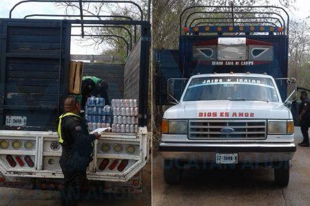 De contrabando querían meter a Oxkutzcab cerveza y licor procedente de Cancún
