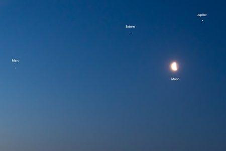 ¿Insomnio? Salte a mirar la conjunción de Júpiter, Marte y Saturno con la Luna
