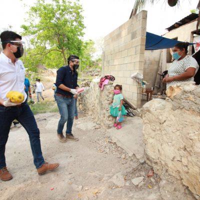 Yucatecos del interior del estado reciben despensas de Yucatán Solidario