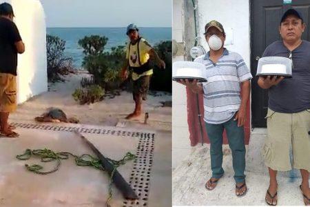 Primero doña Chely, ahora ya localizaron a Gabino y Román: los protagonistas del viral video de la tortuga