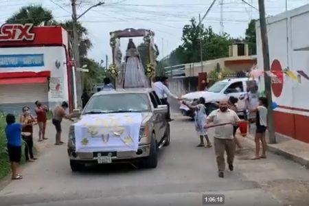 En tiempos de Covid-19, recorrido de la Virgen María por calles de Hoctún