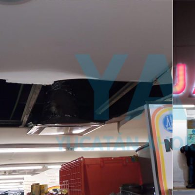 Por Cristóbal, se desploma techo en sucursal de Farmacias Guadalajara
