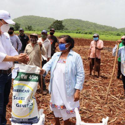 Más productores reciben semillas y fertilizantes para recuperar sus siembras
