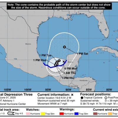 Renace Amanda como depresión tropical 3 y se estaciona en la Sonda de Campeche