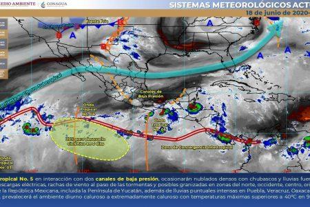 Este jueves seguirán los nublados, chubascos y  tormentas en Yucatán