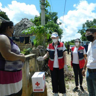 Más de mil familias de Kancab reciben apoyo humanitario de Cruz Roja