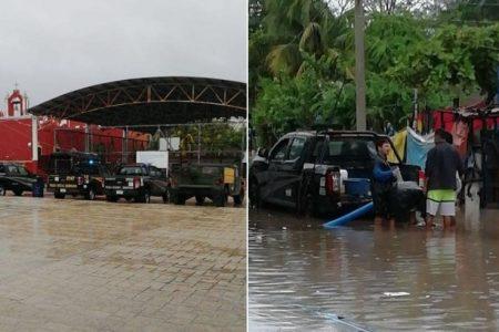 Por Cristóbal, desalojan a vecinos de zonas inundables en Sisal y Celestún