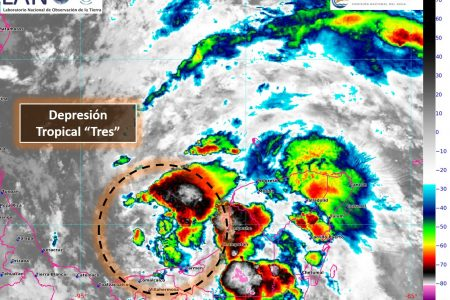 Sobre Yucatán, las lluvias más intensas de la depresión tropical 3