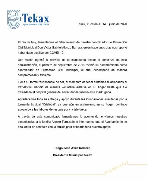 Fallece de Covid-19 el coordinador de Protección Civil de Tekax