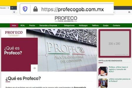 Alerta Profeco sobre página falsa en Internet