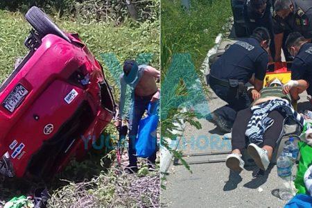 Conductora grave al volcar en la Mérida-Valladolid