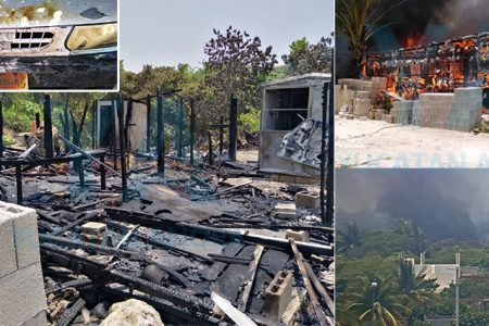Pierde todo tras incendio de gran magnitud en Chicxulub Puerto