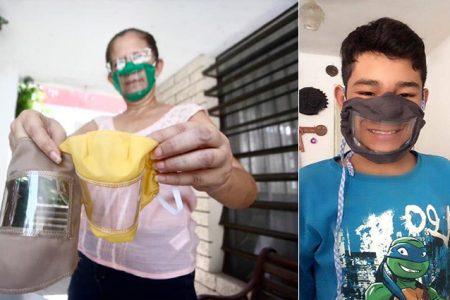 Maestra realiza cubrebocas inclusivos para comunidad sorda de Yucatán