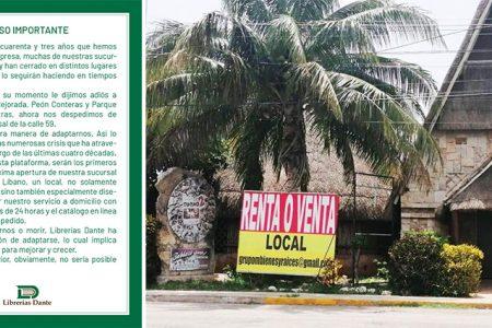 Librerías Dante y restaurante El Tucho con cierres definitivos por la pandemia