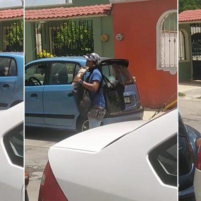 Con sus instrumentos de viento y una bocina, joven afronta la pandemia en calles de Mérida