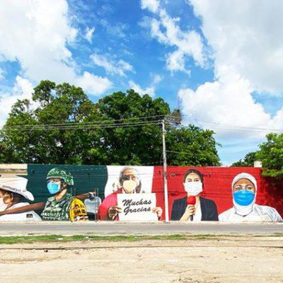 Múul muuk'al, un mural dedicado a los héroes de la actual pandemia