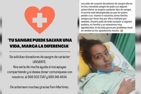 Solicitan de manera urgente donadores de sangre para paciente internada en el Juárez