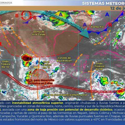 Pronóstico dominical: lluvias por la onda tropical 16 y sensación térmica de 39°C