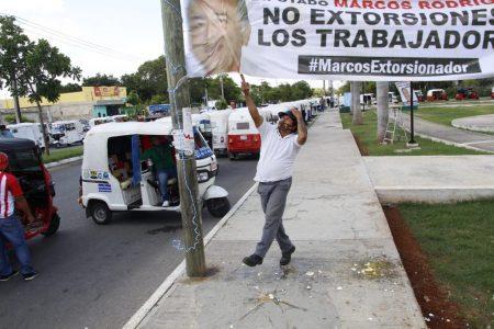 Mototaxistas de Mérida y Kanasín protestan contra cobros de diputado cetemista