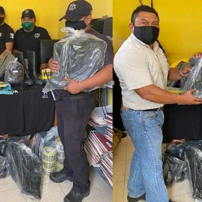 'Avanzan' los policías en Chichimilá: pasan de chancletas a botas de hule