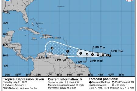 Se forma depresión tropical en el Atlántico: es la séptima y avanza hacia el Caribe